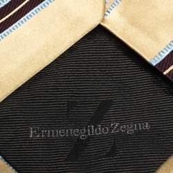 Ermenegildo Zegna Cream Diagonal Striped Traditional Silk Tie
