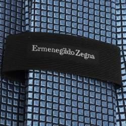 Ermenegildo Zegna Blue Geometric Grid Pattern Silk Tie