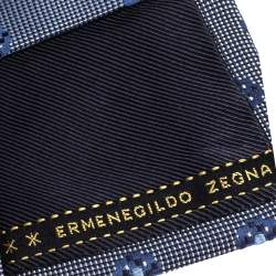 Ermenegildo Zegna Navy Blue Floral Pattern Silk Jacquard Tie