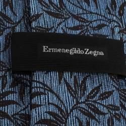 Ermenegildo Zegna Blue Floral Silk Jacquard Tie