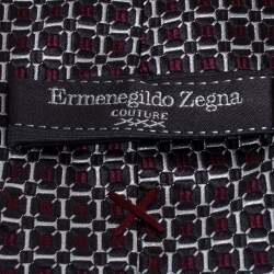 Ermenegildo Zegna Couture Black & Red Silk Tie