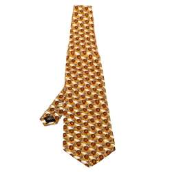 Ermenegildo Zegna Vintage Yellow Printed Silk Traditional Tie