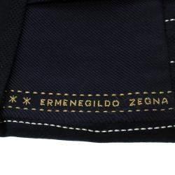 Ermenegildo Zegna Navy Blue Textured Striped Silk Tie
