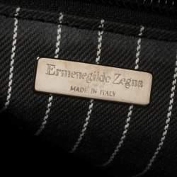 Ermenegildo Zegna Black Leather Front Zip Pocket Messenger Bag