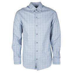 Ermenegildo Zegna Multicolor Checked Long Sleeve Button Front Shirt M