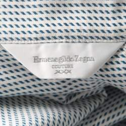 Ermenegildo Zegna Couture Blue and White Patterned Cotton Long Sleeve Shirt XL