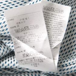 Ermenegildo Zegna Couture Blue and White Patterned Cotton Long Sleeve Shirt XL