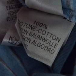 Ermenegildo Zegna Sky Blue Striped Cotton Contrast Collar Polo T-Shirt XXL