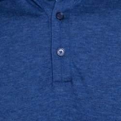 Ermenegildo Zegna Navy Blue Slub Jersey Long Sleeve Polo T-Shirt S