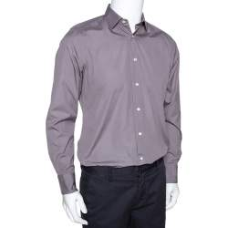 Ermenegildo Zegna Grey Cotton Trofeo Comfort Tailored Fit Shirt M