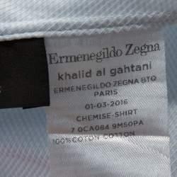 Ermenegildo Zegna Light Blue Textured Cotton Tailored Fit Shirt M