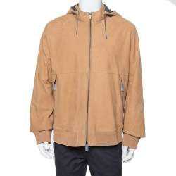 Ermenegildo Zegna Light Brown Leather Paneled Hooded Jacket 3XL