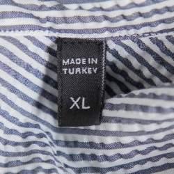 Ermenegildo Zegna White & Grey Crinkled Cotton Button Front Shirt XL