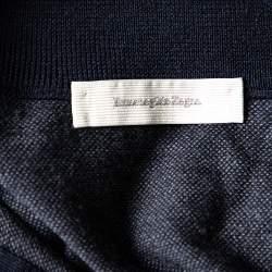 Ermenegildo Zegna Navy Blue Wool and Cashmere Leather Zipper Front Detail Sweater XXL