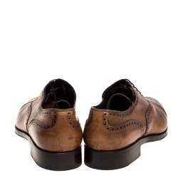 Ermenegildo Zegna Brown Brogue Detail Leather Lace Up Oxfords Size 45