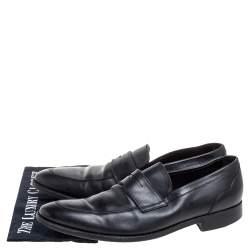 Ermenegildo Zegna Black Leather Penny Loafers Size 45