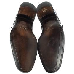 Ermenegildo Zegna Burgundy Leather Monk Strap Oxfords Size 42.5