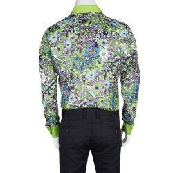 Etro Multicolor Printed Linen Long Sleeve Button Front Shirt L