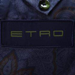 Etro Navy Blue Wool Blend Chalk Striped Double Breasted Blazer L