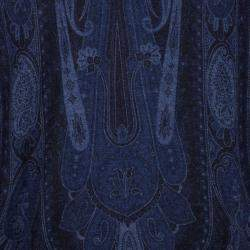 Etro Blue Paisley Printed Wool and Cashmere Blend Sweater 3XL