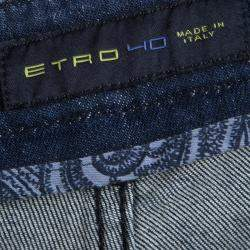 Etro Indigo Faded Effect Paisley Printed Denim Regular Fit Jeans 3XL