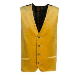 Etro Mustard Yellow Velvet Silk Panel Detail Minete Vest L