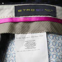 Etro Black and Blue Paisley Printed Linen Pants L
