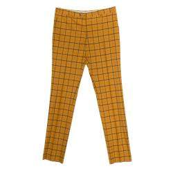Etro Mustard Checked Wool Panama Slim Fit Trousers L