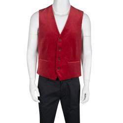 Etro Red Velvet Printed Silk Panel Detail Minete Vest L