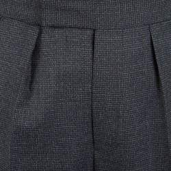 Etro Grey Wool Mini Houndstooth Pattern Straight Fit Trousers L