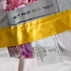 Etro Multicolor Floral Printed Linen Straight Fit Pants L