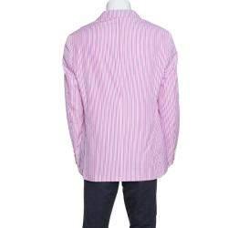 Etro Pink and White Striped Cotton Tailored Blazer L