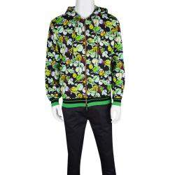 Etro Multicolor Fish Printed Jersey Zip Front Hooded Sweatshirt L