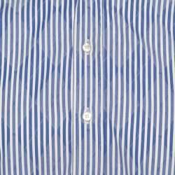 Etro Blue and White Striped Argyle Pattern Cotton Jacquard Long Sleeve Shirt M