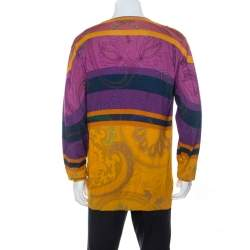 Etro Multicolor Paisley Print Cotton Knit V-Neck Sweater 2XL