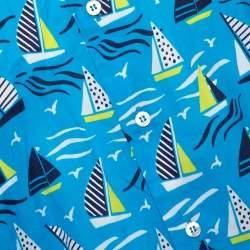Etro Blue Cotton Sail Boat Print Button Front Shirt L