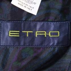 Etro Navy Blue Pinstriped Wool Blazer S