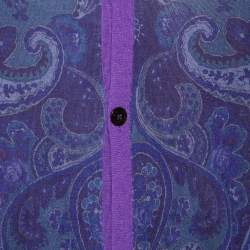 Etro Purple Paisley Printed Wool Button Front Cardigan XL