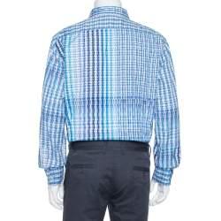 Etro Blue Basket Weave Pattern Cotton Button Front Shirt 4XL