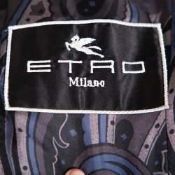 Etro Black Velvet Button Front Blazer L