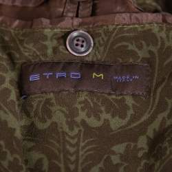 Etro Green Synthetic Leather Detail Zipper Front Jacket M