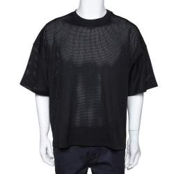 Fear of God Fifth Collection Black Perforated Knit Oversized T Shirt S