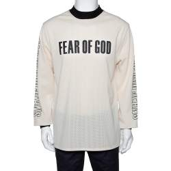 Fear of God Fifth Collection Cream Motocross Mesh Long Sleeve T Shirt M