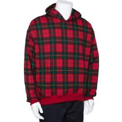 Fear of God Fifth Collection Red Plaid Cotton Hoodie M