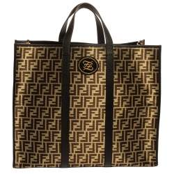 Fendi Black Zucca Jacquard Fabric and Leather Karligraphy Tote