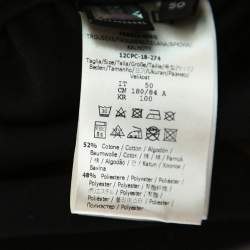 Fendi Black Knit Logo Printed Paneled Joggers L