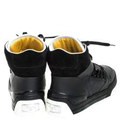 Fendi Black Leather And Suede Lace Up High Top Sneakers Size 40