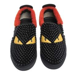 Fendi Black/Red Studded Suede and Leather Monster Slip On Sneakers Size 39