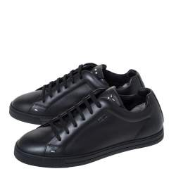 Fendi Black Leather Low Top Sneakers Size 40.5