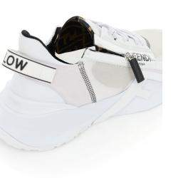 Fendi White Nylon Low Top Flow Sneakers EU 42